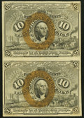Fr. 1244 10¢ Second Issue Uncut Vertical Pair Choice About Uncirculated