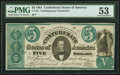 CT33 Counterfeit $5 1861 PMG About Uncirculated 53