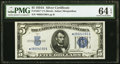 Fr. 1651* $5 1934A Silver Certificate. PMG Choice Uncirculated 64 EPQ