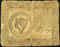 Continental Currency September 26, 1778 $8 Fine