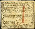 Colonial Notes:Massachusetts, Massachusetts May 5, 1780 $20 Contemporary Counterfeit Very Fine.. ...