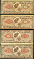 Series 641 $10 Four Examples Fine-Very Fine. ... (Total: 4 notes)