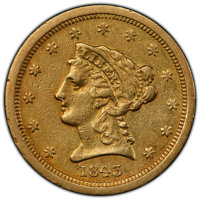 1843-O $2 1/2 Small Date, Crosslet 4 XF40 PCGS. PCGS Population: (65/323 and 0/1+). NGC Census: (52/710 and 0/0+). CDN:...
