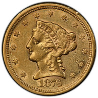 1876-S $2 1/2 AU50 PCGS. PCGS Population: (14/70 and 0/0+). NGC Census: (7/109 and 0/1+). CDN: $800 Whsle. Bid for NGC/P...