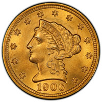 1906 $2 1/2 MS65 PCGS. CAC. PCGS Population: (641/389 and 4/28+). NGC Census: (548/348 and 7/10+). CDN: $660 Whsle. Bid...