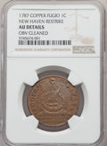 1787 1C Fugio Cent, New Haven Restrike, Copper, -- Obverse Cleaned -- NGC Details. AU....(PCGS# 916)