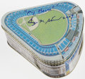 Autographs:Others, George Steinbrenner Signed Yankee Stadium Tin. ...