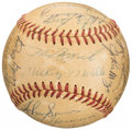Autographs:Baseballs, 1953 New York Yankees Team Signed Baseball Presented to Vic Raschi - World Series Champions! (29 Signatures)....