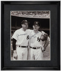 Joe DiMaggio and Mickey Mantle Signed Oversized Framed Photograph