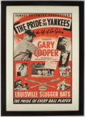 """Baseball Collectibles:Others, 1942 """"Pride of the Yankees"""" Movie Poster, Louisville Slugger Advertisement...."""