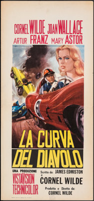 "The Devil's Hairpin & Other Lot (Paramount, 1957). Folded, Fine+. Italian Locandina (13"" X 27.25"") & O..."