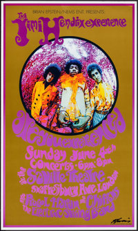"""The Jimi Hendrix Experience (1967). Very Fine+. Signed Concert Window Card (14"""" X 22"""") Karl Ferris Photograph..."""