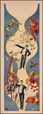 """Magician Poster (c. 1910s). Fine/Very Fine on Linen. Stock Insert (14"""" X 37.5""""). Miscellaneous"""