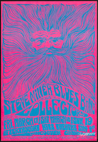 """Steve Miller Blues Band at Afterthought (1967). Very Fine/Near Mint. Autographed Window Card (14"""" X 22"""") Bob M..."""
