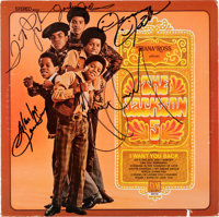 Jackson 5 Band Signed Diana Ross Presents the Jackson 5 Stereo Vinyl LP (Motown, MS700)<