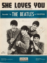 """The Beatles Band Signed """"She Loves You"""" Swedish Sheet Music (circa mid-1960s)"""