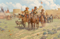 Robert Pummill (American, b. 1936) Santa Fe Trappers Leaving Bent's Fort (circa 1840) Oil on canvas 40 x 60 inches (1