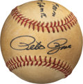 Baseball Collectibles:Balls, 1985 Pete Rose 4,192 Hit Game Used Baseball with Teammate Letter. ...