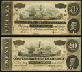 Confederate Notes:1864 Issues, T67 $20 1864 Two Examples About Uncirculated.. ... (Total: 2 notes)