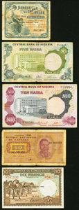 World Currency, An African Lot That Includes Belgian Congo, Katanga, Congo, East Africa, and Nigeria Very Good-Extremly Fine/Almost Uncirculat... (Total: 9 notes)