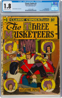 Classic Comics #1 The Three Musketeers - First Edition (Gilberton, 1941) CGC GD- 1.8 Off-white to white pages