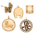 Estate Jewelry:Other, Cultured Pearl, Multi-Stone, Gold Charms. ... (Total: 5 Items)