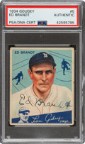Autographs:Sports Cards, Signed 1934 Goudey Ed Brandt #5 PSA/DNA Authentic - Pop On...