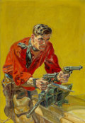 Paintings, Norman Saunders (American, 1907-1989). Shoot Out in Irons, Western Pulp magazine cover. Oil on canvas. 30 x 21 inches (7...