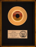 """Music Memorabilia:Awards, Bonnie Tyler """"Total Eclipse of the Heart"""" RIAA Gold Floater Sales Award (Columbia, 1983)...."""