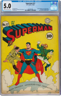 Superman #17 (DC, 1942) CGC VG/FN 5.0 Cream to off-white pages