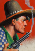 Paintings, Gerard Curtis Delano (American, 1890-1972). Smoking Gun, Action Stories magazine cover, September 1931. Oil on canvasboa...