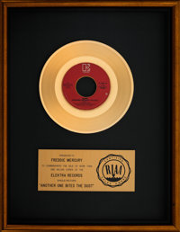"Queen ""Another One Bites the Dust"" 13"" x 17"" RIAA Gold Sales Award Presented to Freddie Mercury (Ele..."