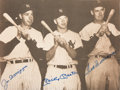 Baseball Collectibles:Photos, 1980's Joe DiMaggio, Mickey Mantle & Ted Williams Multi-Signed Oversized Photograph. ...