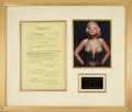 Movie/TV Memorabilia:Autographs and Signed Items, Marilyn Monroe Signed Twentieth Century-Fox Advertising Release From 1953 Matted With Color Photo and Plaque. ...