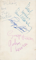 """Music Memorabilia:Autographs and Signed Items, The Beatles Band Signed 3 1/2 x 5 3/4"""" Parlophone Promotional Card (1963)...."""
