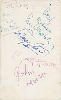 """The Beatles Band Signed 3 1/2 x 5 3/4"""" Parlophone Promotional Card (1963)"""