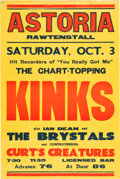 Music Memorabilia:Posters, Kinks Large 1964 British Concert Poster Signed by Lead Guitarist Dave Davies...