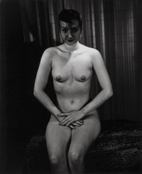 Weegee (American, 1899-1968) Seated Nude with Fishnet Veil, circa 1940s Gelatin silver, 1950s 13 x 10-5/8 inches (33