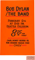 Music Memorabilia:Posters, Bob Dylan / The Band 1974 Seattle Hand-Painted Poster & Matching Unused Ticket.... (Total: 2 Items)