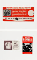 Music Memorabilia:Memorabilia, The Beatles Three Ads For Original Shirt, Pull Over Knit Shirt & Counter Poster Billfold(1960's).... (Total: 2 Items)