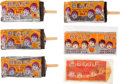 Music Memorabilia:Memorabilia, The Beatles Four Authentic Ice Cream Foil Wrappers on replica Bars + Foil & Paper wrapper (6) (NEMS 1964). ...