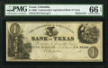 Obsoletes By State:Texas, Columbia, TX- Commercial & Agricultural Bank of Texas $1 18__ G2 Medlar 18 Remainder PMG Gem Uncirculated 66 EPQ.. ...