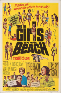 """The Girls on the Beach (Paramount, 1965). Folded, Very Fine. One Sheet (27"""" X 41""""). Rock and Roll"""