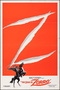 "The Sign of Zorro (Buena Vista, R-1978). Folded, Fine/Very Fine. One Sheet (27"" X 41""). Adventure"