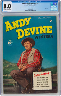 Andy Devine Western #1 (Fawcett Publications, 1950) CGC VF 8.0 Off-white to white pages