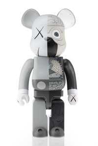 KAWS X BE@RBRICK Dissected Companion 1000% (Grey), 2010 Painted cast vinyl 28 x 13-1/4 x 9-1/2 in