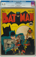 Golden Age (1938-1955):Superhero, Batman #5 (DC, 1941) CGC VG 4.0 Cream to off-white pages....