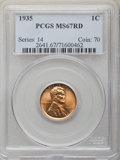 1935 1C MS67 Red PCGS. PCGS Population: (558/10). NGC Census: (578/2). CDN: $180 Whsle. Bid for NGC/PCGS MS67. Mintage 2...
