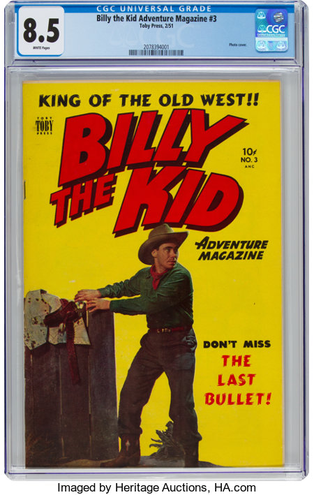 Billy the Kid Adventure Magazine #3 (Toby Publishing, 1951) CGC VF+ 8.5 White pages....