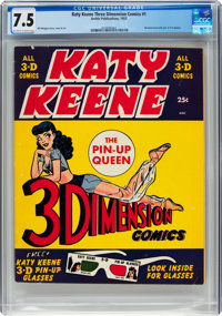 Katy Keene Three Dimension Comics #1 (Archie, 1953) CGC VF- 7.5 Off-white to white pages